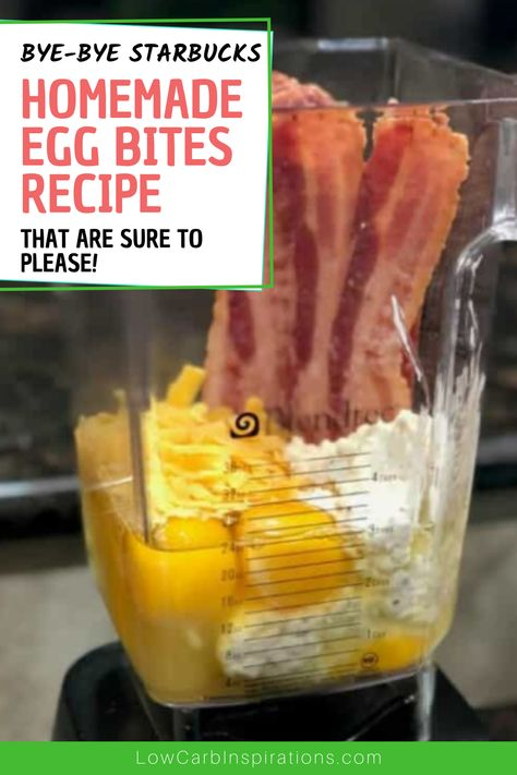 Keto Friendly Copycat Starbucks Egg Bites recipe made in a blender! Keto Foods, Healthy Smoothie, Smoothies, Starbucks Egg Bites, Starbucks Recipes, Starbucks Food, Starbucks Coffee, Coffee Recipes, Brunch Recipes