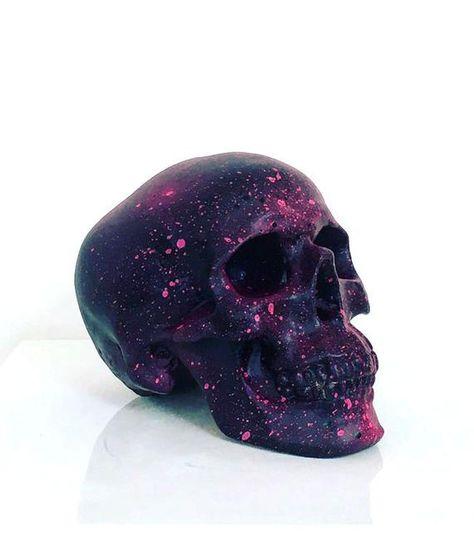 Black & Neon Pink Splatter Skull - Haus of Skulls Pink Skull, Sugar Skull Art, Black Skulls, Neon Crafts, Kid Crafts, Crane, Black Neon, Pink Black, Acrylic Spray Paint