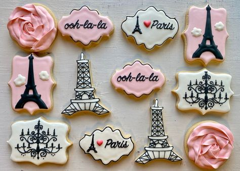 Paris Birthday Cakes, Chanel Birthday Cake, Paris Themed Cakes, Paris Themed Birthday Party, Paris Cakes, Paris Party, Birthday Cake Girls, Birthday Cookies, 50th Birthday