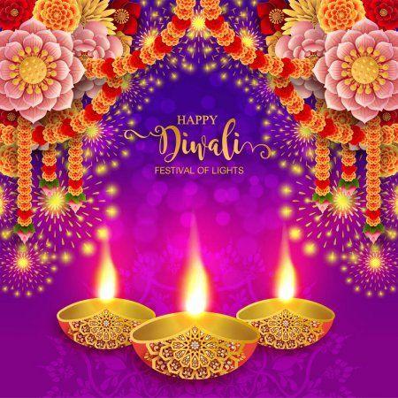 Happy Diwali Festival Card Gold Diya Patterned Crystals Paper Color Sto Aff Card Gold Fes Happy Diwali Diwali Festival Of Lights Happy Diwali Images