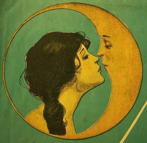 Kissed By The Moon ✯ {antique drawing - antique illustration-drawing- illustration- vintage} Art And Illustration, Antique Illustration, Vintage Moon, Vintage Art, French Vintage, Erde Tattoo, Geometric Tatto, We Heart It Images, Hippie Art