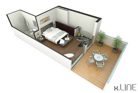 desain denah rumah 1 kamar tidur   denah rumah, rumah