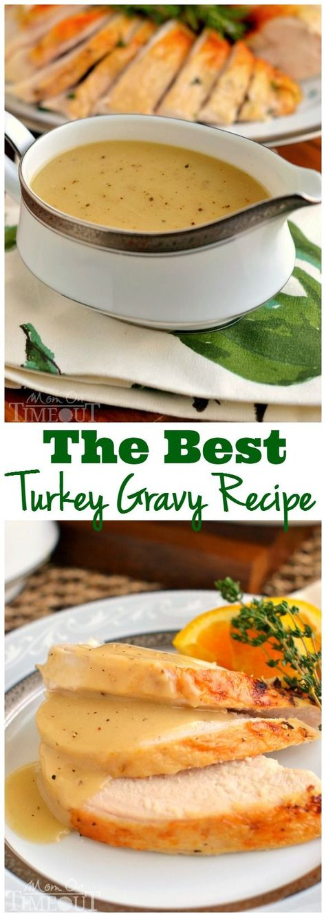 Silky smooth and perfectly rich, this really is the BEST Turkey Gravy recipe around! Step-by-step instructions! | MomOnTimeout.com |