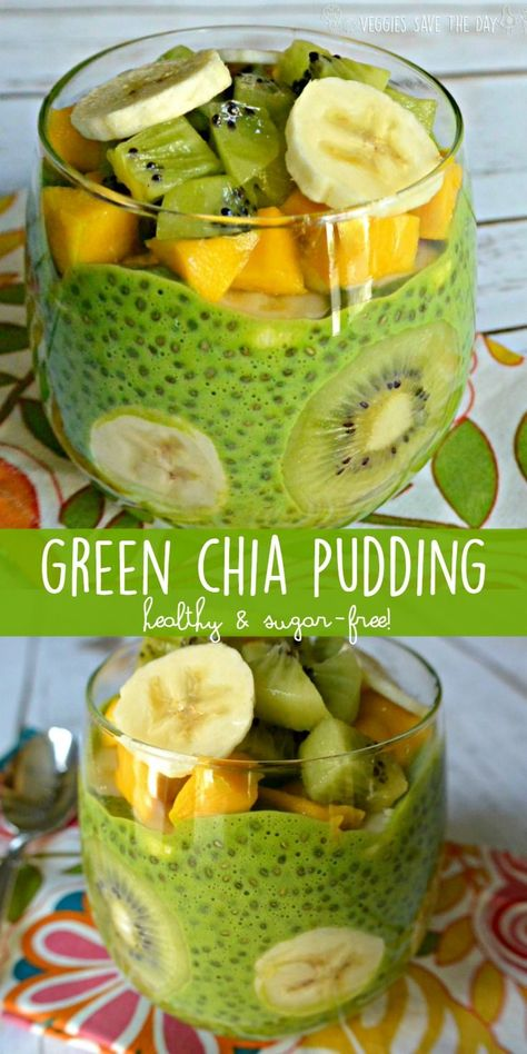 Green Chia Pudding is perfect for a nutritious breakfast a satisfying snack or a sugar-free dessert. It's easy to make with only a few ingredients. Plant based vegan gluten free sugar free oil f (Raw Ingredients Dairy Free) Raw Vegan Recipes, Vegan Breakfast Recipes, Vegetarian Recipes, Healthy Recipes, Raw Vegan Breakfast, Breakfast Dessert, Raw Vegan Dinners, Chia Pudding Breakfast, Kiwi Recipes