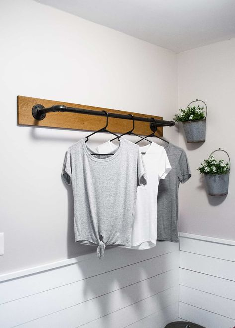 22 DIY Clothes Racks in 2020 - Organize Your Closet Whether you need storage for your laundry room, closet, or in a guest room, making an aesthetically pleasing clothing rack is incredibly easy. Laundry Room Remodel, Laundry Decor, Laundry Closet, Laundry Room Organization, Laundry Room Design, Laundry In Bathroom, Laundry Storage, Lake Bathroom, Organization Ideas