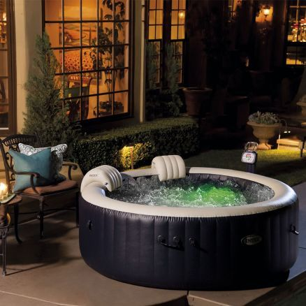 Pure Spa 4 Places Rond Bulles Led 1m96 X 71cm Puutarha
