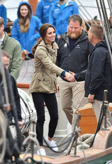 Catherine, Duchess of Cambridge and Prince William Duke of Cambridge on the tall ship, Pacific Grace, sailing with members of the Sail and Life Training Society, at Victoria Inner Harbour in Victoria.