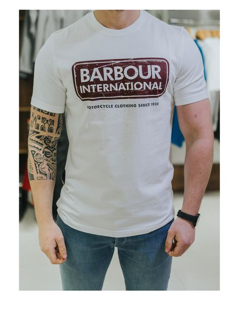 great deals 2017 preview of good service Barbour Barbour International Caps Logo T-Shirt | White ...