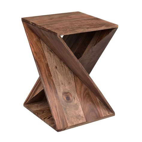 With a flourish for fashion, our Twisted Sheesham Table will be a dashing addition in your industrial or rustic space.  Its natural wood makeup flows with every line and angle of this geometric accessory. Wood Shop Projects, Woodworking Projects Diy, Diy Wood Projects, Wood Crafts, Beginner Wood Projects, Easy Small Wood Projects, Bandsaw Projects, Wood Projects That Sell, Awesome Woodworking Ideas