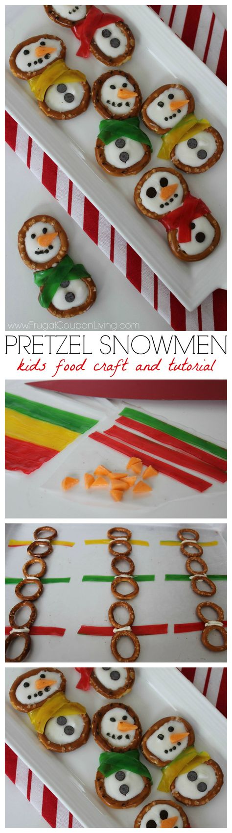 Snowmen Pretzels - Easy Kids Food Craft with pretzels, white chocolate and fruit candy. Details and winter kids party recipe on Frugal Coupon Living.