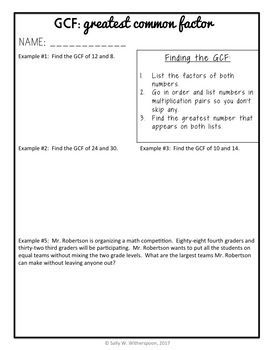 Greatest Common Factor within 100, 4th Grade GCF Lesson Packet + ...