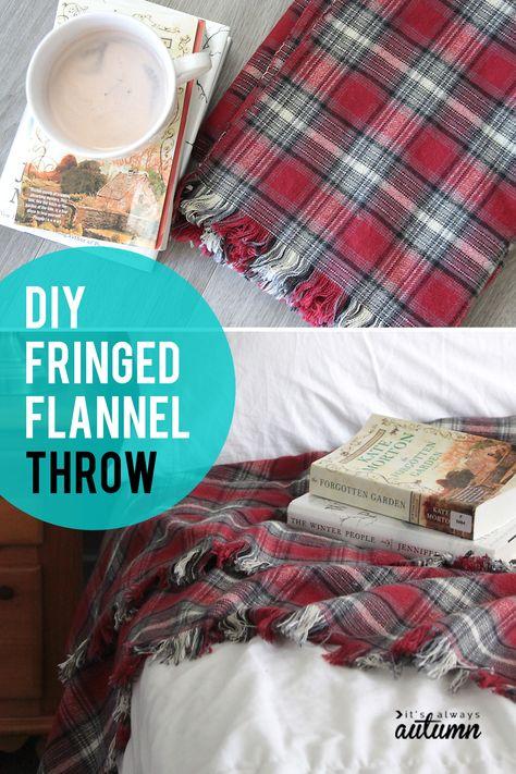 easy DIY fringed flannel throw {great gift idea!} - It's Always Autumn