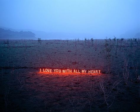 Text works by artist Lee Jung. Such beautiful and timely work. Like text messages set in nature or something...
