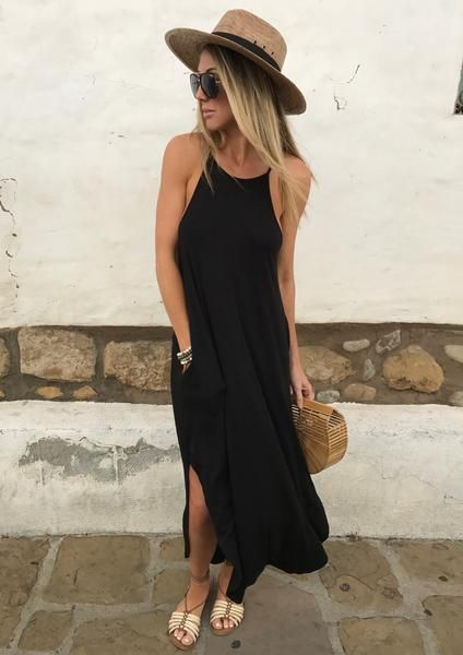 Cherie Maxi Dress - - Vestido maxi en negro con sombrero Source by