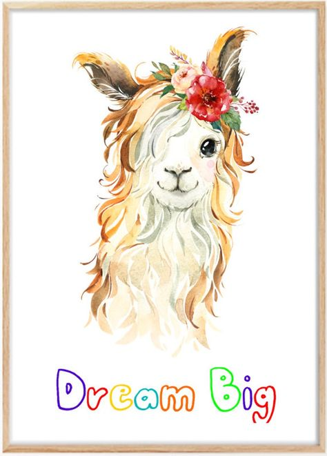Cute Llama Baby Nursery Print Set Wall Art Kids Bedroom Home | Etsy