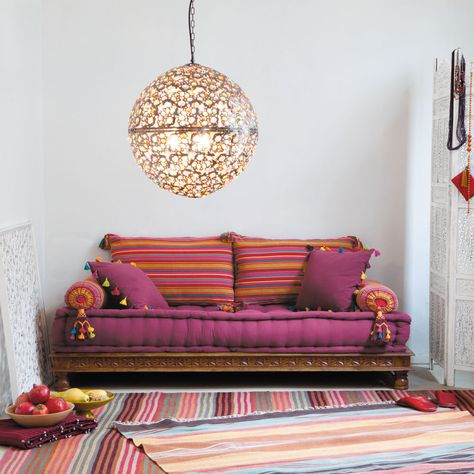 2/3 seater cotton Indian day bed, multicoloured | Maisons du Monde
