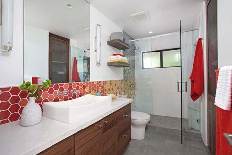 warm-to-cool hexagon tile bathroom   fireclay tile   mid