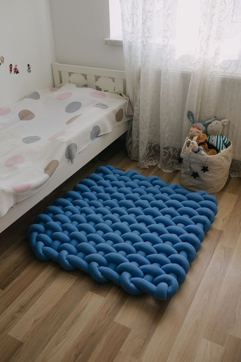 Baby blue play mat Nursery rug Montessori furniture Tepee mat image 0