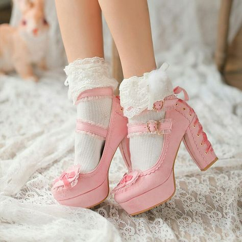 Red, Pink Or White Lolita Heart Ribbon Back Velvet Heels Cute Shoes Heels, Pretty Shoes, Sock Shoes, Me Too Shoes, Kawaii Shoes, Kawaii Clothes, Baby Doll Shoes, Mode Rockabilly, Mode Kawaii