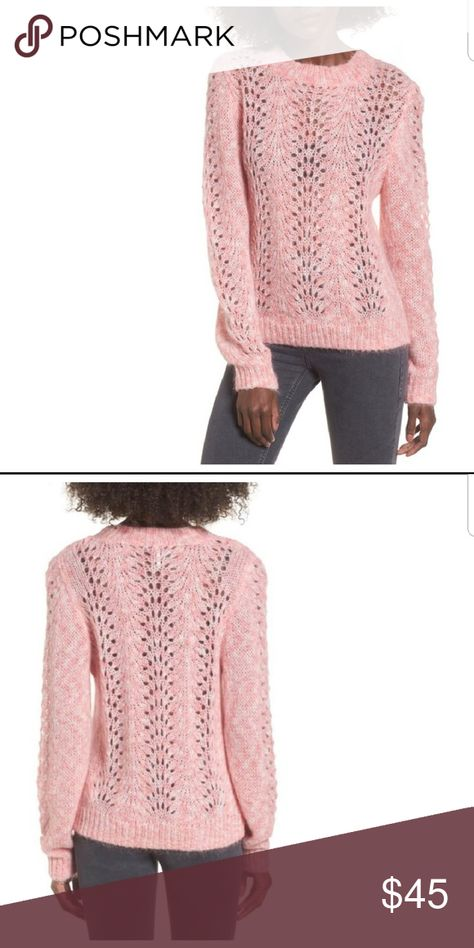 TOPSHOPStrawberry Cream Open Knit Sweater Good condition. Picture #4 shows where material was pulled a bit while on a hanger... I have not washed so not sure if it'll sort itself out after washing.*items come from a smoke free, pet friendly home but are stored in plastic containers after photographing.* Topshop Sweaters Crew & Scoop Necks