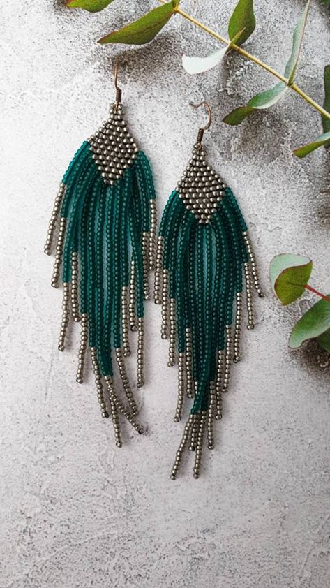 Long green earrings, matt emerald green and bronze fringe beaded earrings, large earrings, statement earrings for a special occasion - new season bijouterie Amethyst Earrings, Green Earrings, Seed Bead Earrings, Fringe Earrings, Unique Earrings, Diy Earrings, Flower Earrings, Seed Bead Jewelry, Statement Earrings