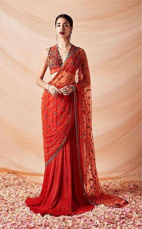 Sari Design, Sari Blouse Designs, Diy Design, Stylish Sarees, Trendy Sarees, Indian Wedding Outfits, Indian Outfits, Bridal Outfits, Indian Designer Outfits
