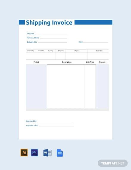 Free Commercial Shipping Invoice Template Pdf Word Doc Excel Psd Apple Mac Pages Apple Numbers Illustrator In 2020 Invoice Template Invoice Design Template Templates