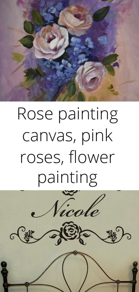Rose painting canvas, pink roses, flower painting