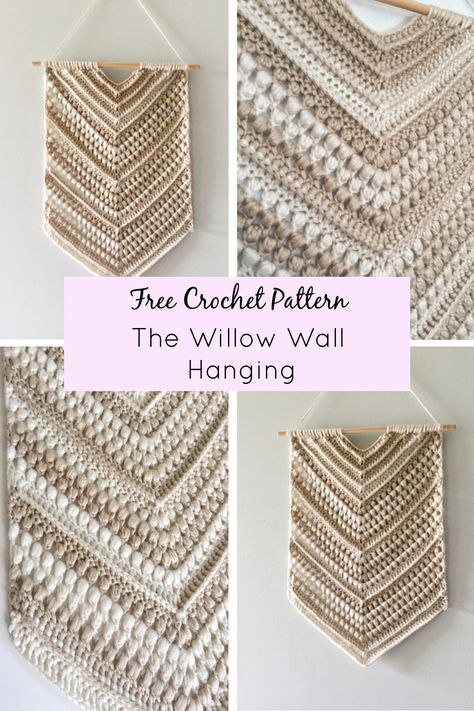 Crochet this beautiful bohemian inspired wall hanging to add some texture and interest to any space. This pattern uses simple stitches to create lots of visual interest - and makes it look harder than it is. The complete pattern and detailed photo tutorial can be found on my blog by clicking on the pin! Crochet Wall Art, Crochet Wall Hangings, Crochet Home Decor, Diy Crochet Wall Hanging, Crochet Blanket Patterns, Crochet Stitches, Knitting Patterns, Modern Crochet Patterns, Crochet Gifts