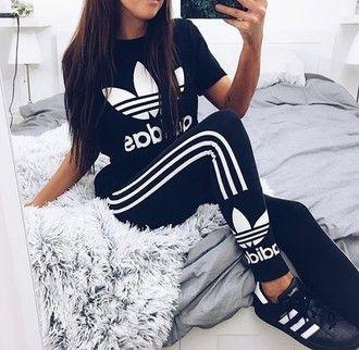 jumpsuit leggings shirt adidas adidas shirt cute hot perfecto workout fitness…