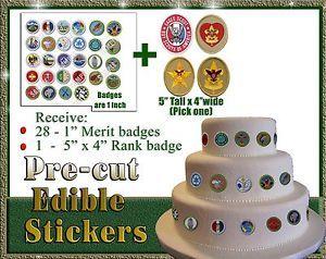 EDIBLE merit badges! Boy Scouts cut outs cake sugar paper Eagle rank life star