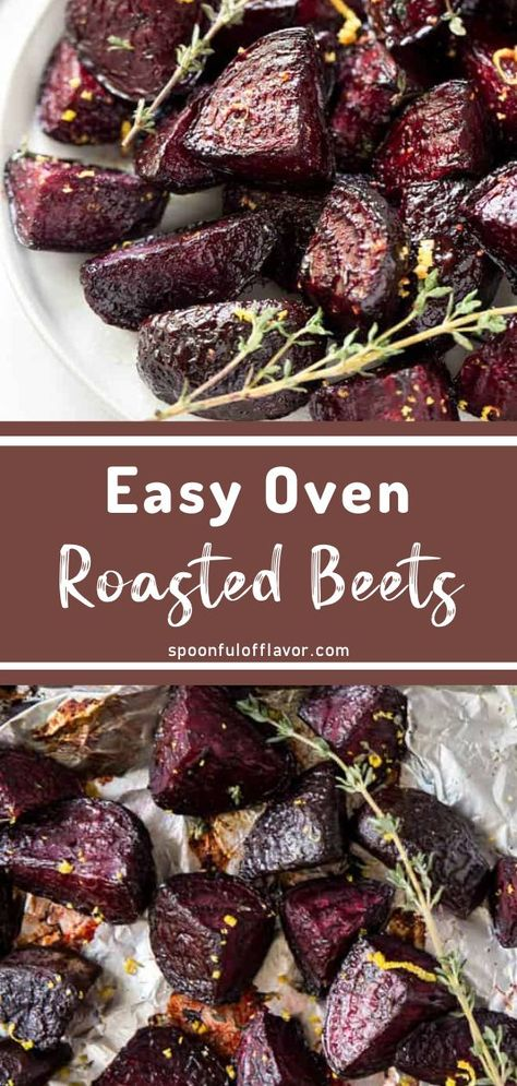 The perfect side dish you can prepare in less than 15 minutes! Easy Oven Roasted Beets are packed full of nutrients like potassium, iron, and fiber. The options for enjoying this delicious root. Veggie Side Dishes, Side Dishes Easy, Vegetable Dishes, Side Dish Recipes, Lunch Recipes, Recipes For Beets, Recipes Dinner, Beet Recipes Healthy, Dessert Recipes