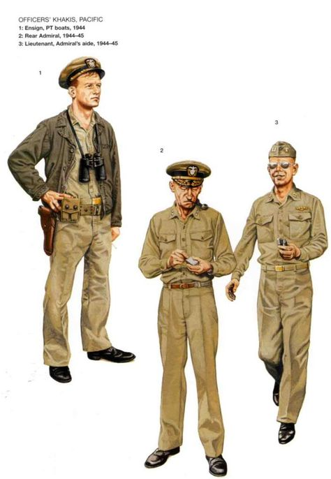 U.S.NAVY Officer Khakis, Pacific - 1 Ensign, PT boats, 1944 - 2 Rear Admiral, 1944-45 - 3 Lieutenant, Admiral's side, 1944-45