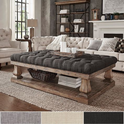 Knightsbridge Tufted Linen Baluster 60-inch Cocktail Ottoman by SIGNAL HILLS