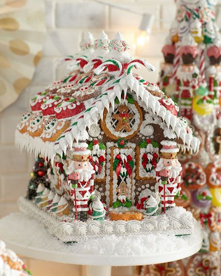 "Get free shipping on Sweet Savannah One-of-a-Kind ""Gingerbread"" House, Medium at Neiman Marcus. Shop the latest luxury fashions from top designers. Homemade Gingerbread House, Gingerbread Christmas Decor, Cool Gingerbread Houses, Gingerbread House Designs, Gingerbread House Parties, Christmas Candy, Christmas Baking, Christmas Cookies, Christmas Time"
