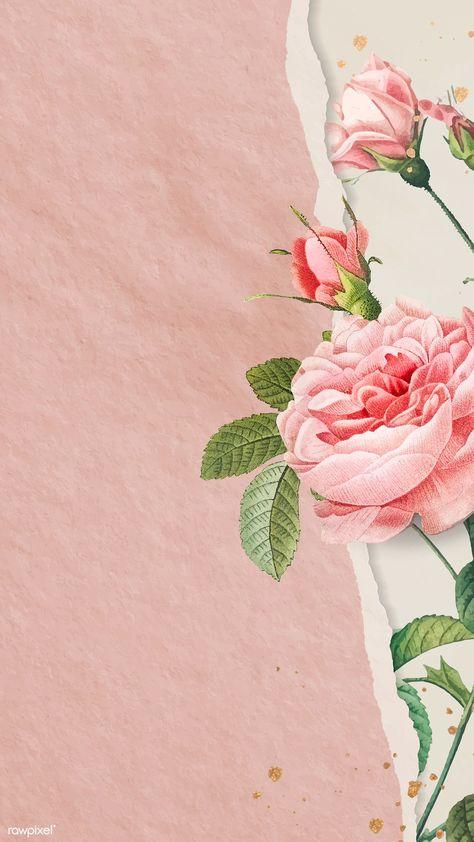 Pink rose frame design vector,4k iphone wallpaper   premium image by rawpixel.com / Adj