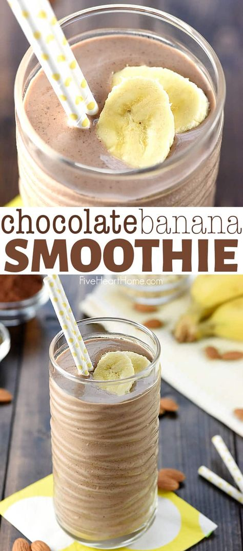 Chocolate Banana Smoothie a healthy filling decadent breakfast or snack loaded with bananas almond milk almond butter Greek yogurt oats chia seeds and cocoa powder for a boost of protein vitamins calcium and fiber Yummy Smoothie Recipes, Yummy Smoothies, Shake Recipes, Yummy Drinks, Healthy Drinks, Yogurt Recipes, Fudge Recipes, Detox Drinks, Homemade Smoothies