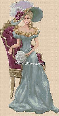 Cross stitch chart  Elegant Lady 156o full length     Flowerpower37-uk