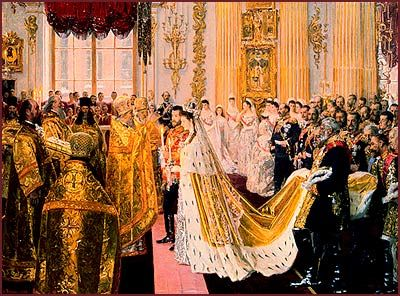 Princess Alix was dressed for her wedding in the Malachite drawing-room of the Winter Palace. Her hair was done in the traditional long side curls, in front of the famous gold mirror of the Empress Anna Ioannovna, before which every Russian Grand Duchess dresses on her wedding day...her dress was a heavy Russian Court dress of real silver tissue, with an immensely long train edged with ermine & so heavy that, when not carried, she was almost pinned to the ground