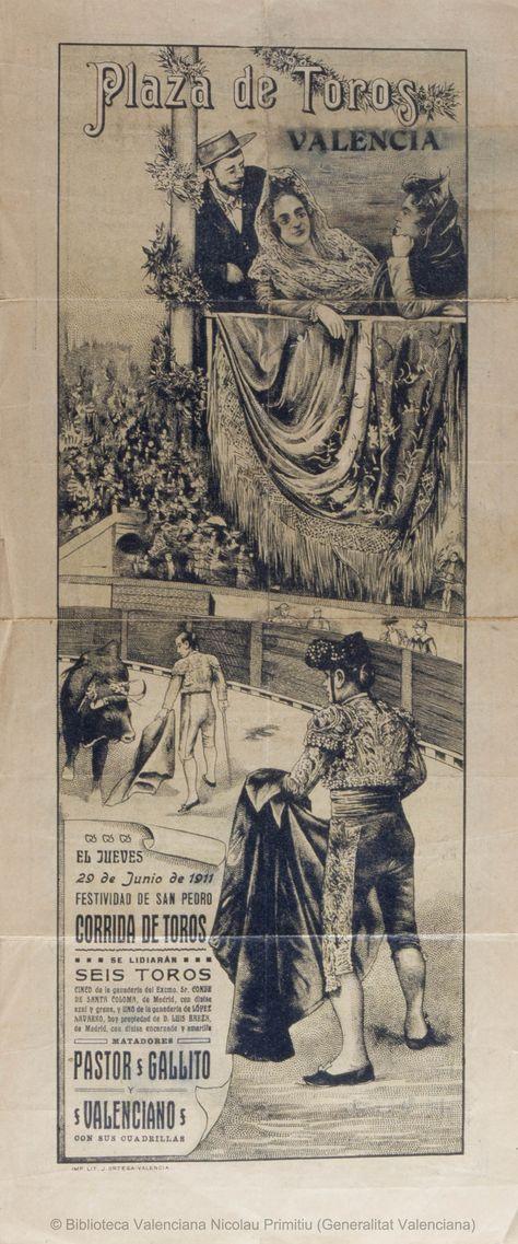 Anónimo. (S. XX)   Plaza de Toros Valencia [Material gráfico] : El Jueves 29 de Junio de 1911 ... : Corrida de toros ... — [S.l. : s.n., 1911?] (Valencia : Imp. y Lit. J. Ortega)  1 lám. (cartel) : col. ; 50 x 21 cm