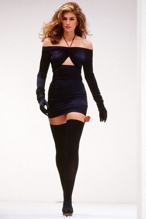 """midnight-charm: """"Cindy Crawford @ Dolce & Gabbana S/S 1991 """" Dang. When models could have thighs."""