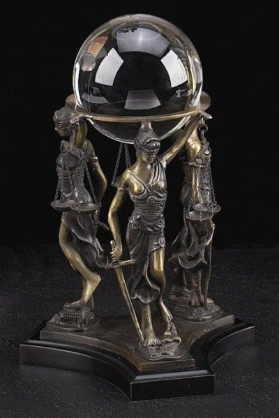 Lady Justice Bronze Crystal Ball Stand And Ball T.P.