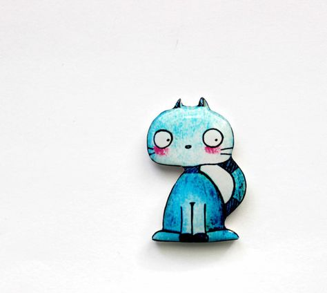 Free shipping Animal brooch pin clay cat Cute blue by Dinabijushop, $19.00