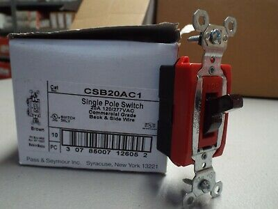 Sponsored Ebay Pass Seymour Csb20ac1 Single Pole Switch 20a Brown 10 Per Box In 2020 Pole 10 Things Electrical Tools