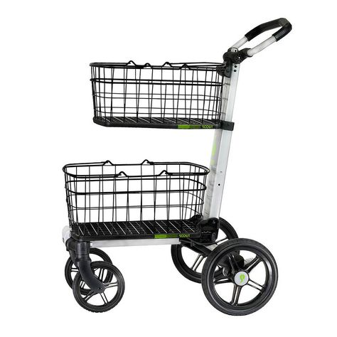 Folding Aluminum Cleaning Cart with Removable Baskets Swivel Front Wheels-SCV2 - The Home Depot