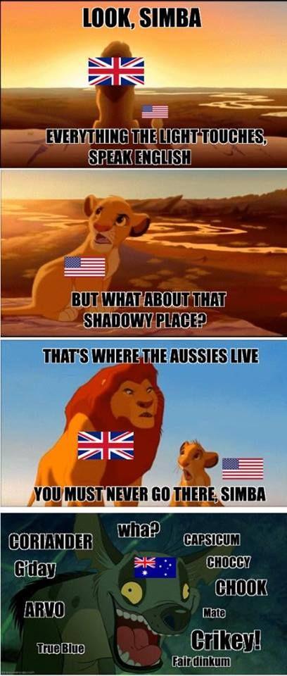 Beware Of The Aussie People Simba English Englishlanguage Englishvocabulary Australian Language Meme Memes Funny Aussie Australia Funny Aussie Memes