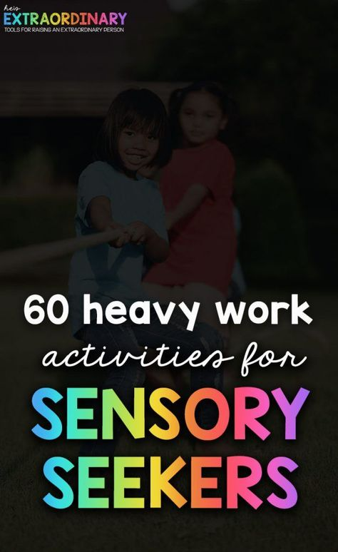 Heavy Work Activities for Sensory Seekers - Heavy work stimulates the proprioceptive system, which is our sense of body awareness. We have proprioceptors in our muscles and joints that are stimulated during heavy work activities. Autism Education, Autism Resources, Early Education, Autism Blogs, Autism Learning, Special Education, Teaching Resources, Work Activities, Therapy Activities