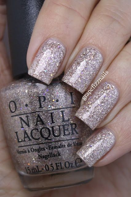 ✔☆OPI Nail Polish~Winter 2015 Starlight Collection~CE-LESS-TIAL IS MORE is a stunning rose gold textured glitter with holo glitter mixed in. Used two thick coats with two thick top coats.