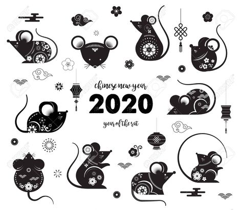Happy Chinese New Year Design 2020 Rat Zodiac Cute Decorated Mouses Collection Japanese Kor Chinese New Year Design Happy Chinese New Year New Year Designs