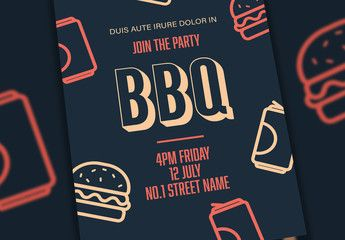Event Flyer Layout with Barbeque Illustrations. Buy this stock template and explore similar templates at Adobe Stock